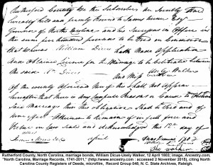 William Dycus to Urcilla Walker 12 Apr 1803